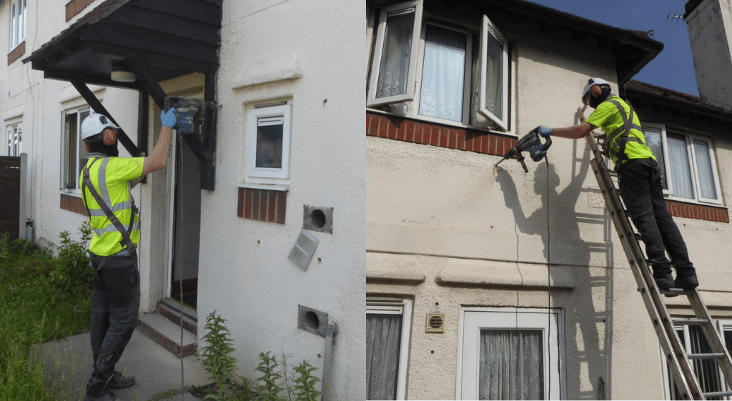 Operatives in Hi-Vis clothing, hard hats and ear defenders working on the external wall of a house while being observed for their NVQ Level 2 in Cavity Wall Insulation