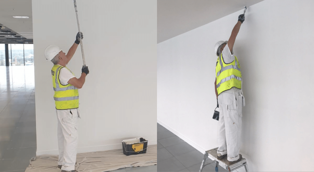 Two images of a painter and decorator applying paint to an office wall and ceiling using a roller and a brush. He is being observed by his assessor for NVQ Level 2 Painting and Decorating