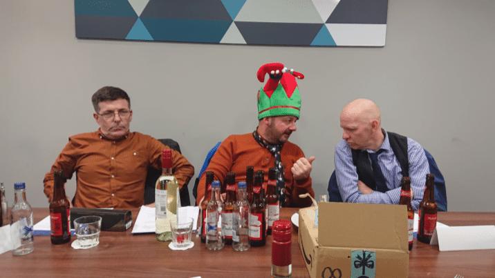 Steve Graham (NVQ assessor and Lead IQA) at a DMR Christmas team meeting