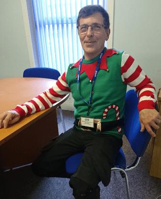 NVQ assessor Steve Graham in novelty Christmas jumper