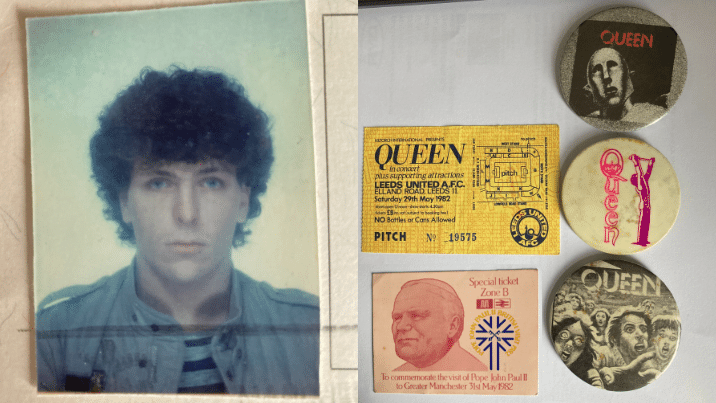 Photo of NVQ assessor Steve Graham in his younger years alongside memorabilia of Queen and The Pope from 1982