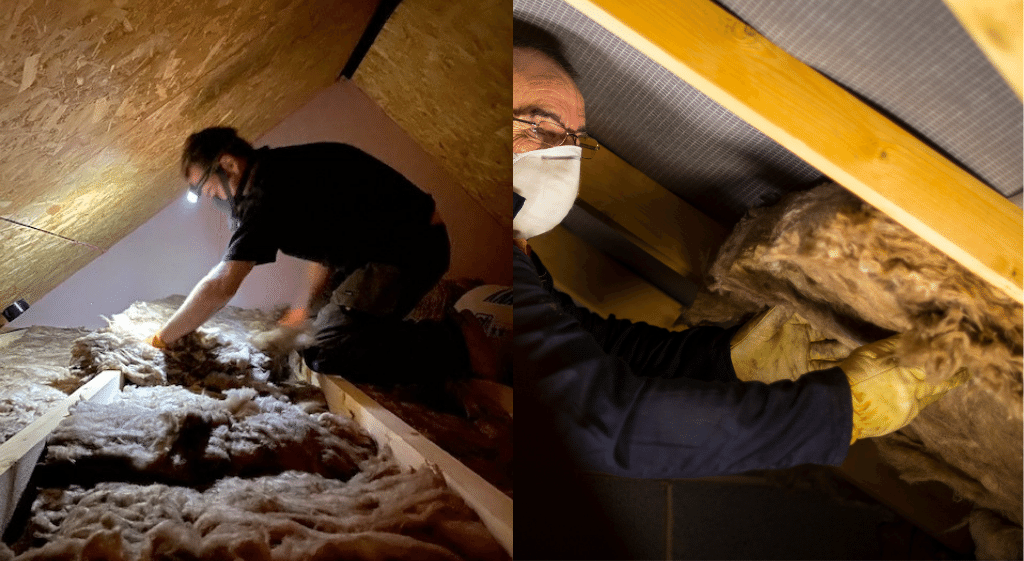 Two construction workers fitting wool insulation to loft joists and rafters. One of the workers is undergoing an observation for his loft insulation NVQ